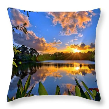 Sunset Over Hidden Lake In Jupiter Florida Throw Pillow by Justin Kelefas
