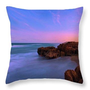 Sunset Over House Of Refuge Beach On Hutchinson Island Florida Throw Pillow