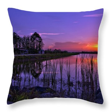 Sunset Over Hungryland Wildlife Management Area Throw Pillow by Justin Kelefas