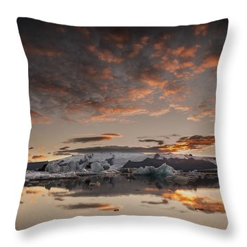 Sunset Over Jokulsarlon Lagoon, Iceland Throw Pillow by Chris McKenna