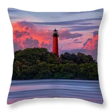 Sunset Over Jupiter Lighthouse, Florida Throw Pillow by Justin Kelefas