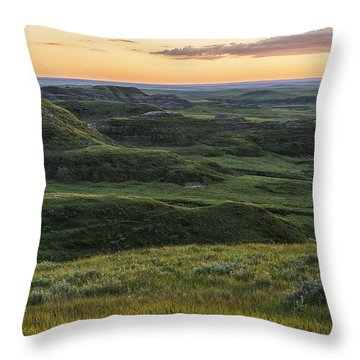 Sunset Over Killdeer Badlands Throw Pillow by Robert Postma