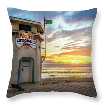 Sunset Over Laguna Beach Lifeguard Station Throw Pillow
