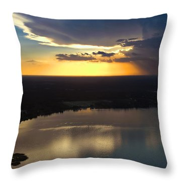Sunset Over Lake Throw Pillow by Carolyn Marshall