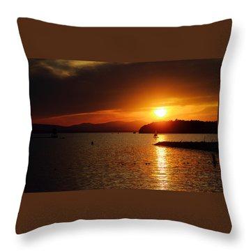 Sunset Over Lake Champlain Throw Pillow