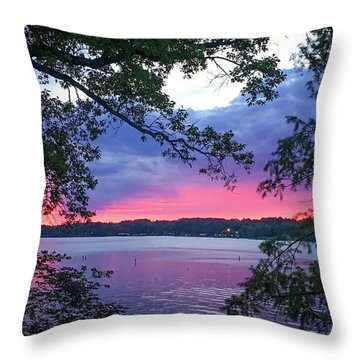 Sunset Over Lake Cherokee Throw Pillow