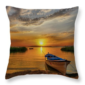 Sunset Over Lake Throw Pillow by Lilia D