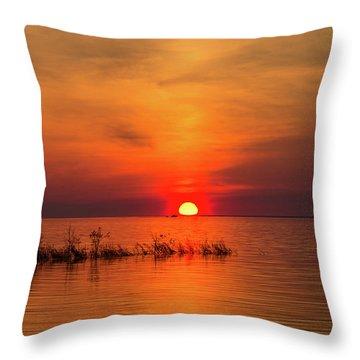 Sunset Over Lake Michigan Throw Pillow