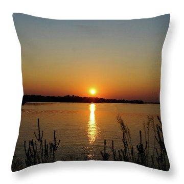 Sunset Over Lake Norman Throw Pillow