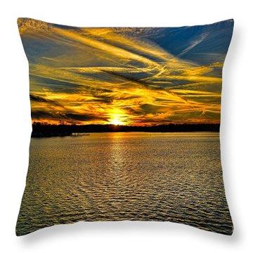 Sunset Over Lake Palestine Throw Pillow