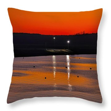 Throw Pillow featuring the photograph Sunset Over Lake Texoma by Diana Mary Sharpton