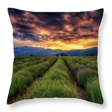 Sunset Over Lavender Field  Throw Pillow