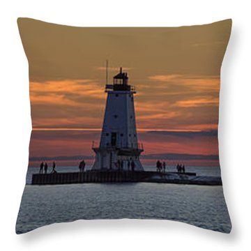 Throw Pillow featuring the photograph Sunset Over Ludington Panoramic by Adam Romanowicz