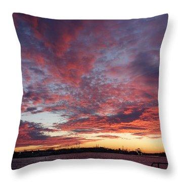 Manasquan Inlet Sunset    Throw Pillow by Melinda Saminski