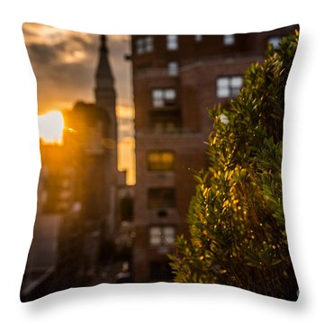 Sunset Over Manhattan New York City Throw Pillow