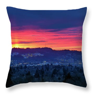 Sunset Over Marquam Hill Throw Pillow