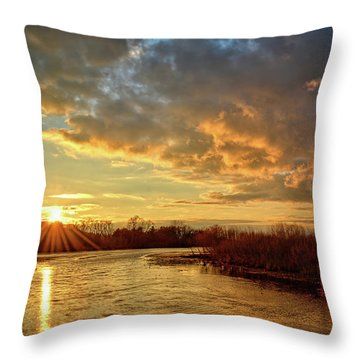 Sunset Over Marsh Throw Pillow by Bonfire Photography