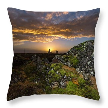 Sunset Over Marsh Throw Pillow