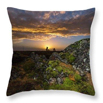 Sunset Over Marsh Throw Pillow by Joe Belanger