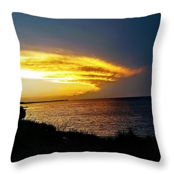 Sunset Over Mobile Bay Throw Pillow