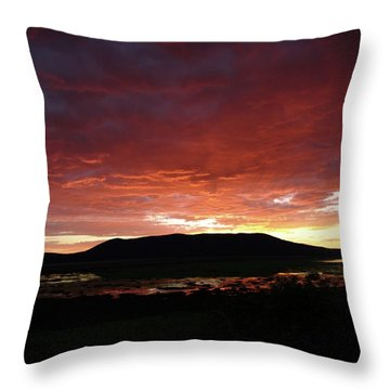 Throw Pillow featuring the painting Sunset Over Mormon Lake by Dennis Ciscel