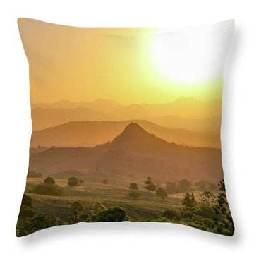 Throw Pillow featuring the photograph Sunset Over Mt Sugarloaf by Keiran Lusk