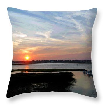 Sunset Over Murrells Inlet II Throw Pillow by Suzanne Gaff
