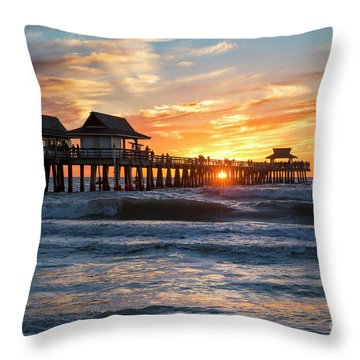 Throw Pillow featuring the photograph Sunset Over Naples Pier by Brian Jannsen