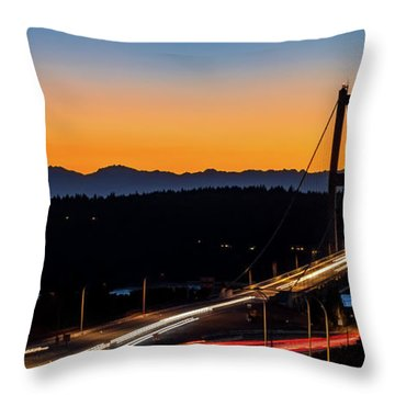 Sunset Over Narrrows Bridge Panorama Throw Pillow