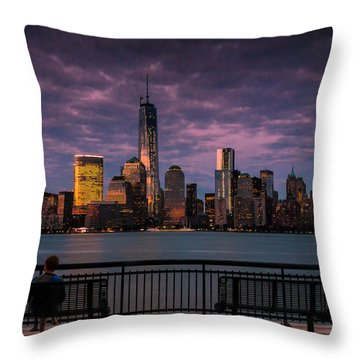 Throw Pillow featuring the photograph Sunset Over New World Trade Center New York City by Ranjay Mitra