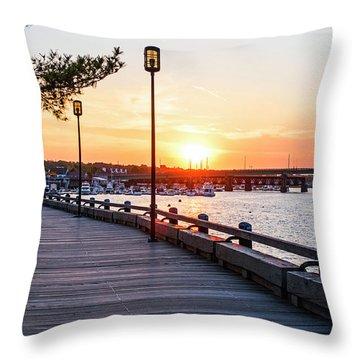 Sunset Over Newburyport Ma Merrimack River Newburyport Turnpike Throw Pillow