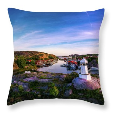 Sunset Over Old Fishing Port - Aerial Photography Throw Pillow