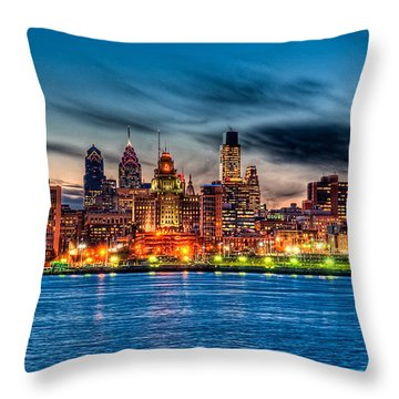 Throw Pillow featuring the photograph Sunset Over Philadelphia by Louis Dallara