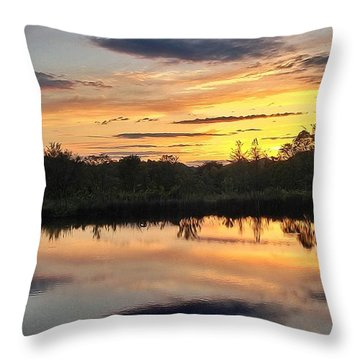 Sunset Over Pond Throw Pillow