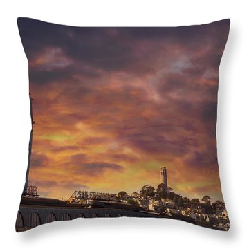 Sunset Over Port Of San Francisco Ferry Building Throw Pillow