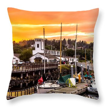 Throw Pillow featuring the photograph Sunset Over Port Townsend by TL  Mair