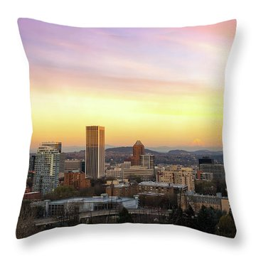 Sunset Over Portland Cityscape And Mt Hood Throw Pillow
