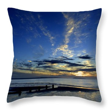 Sunset Over Puffin Island Throw Pillow