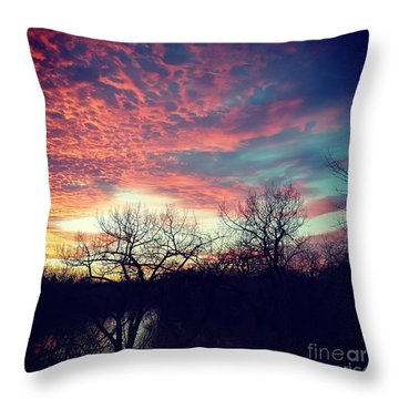 Sunset Over River Throw Pillow