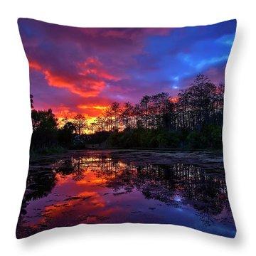 Sunset Over Riverbend Park In Jupiter Florida Throw Pillow