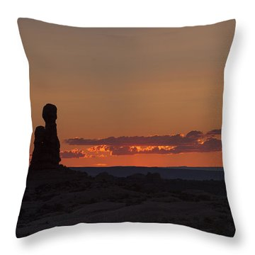 Sunset Over Rock Formation Throw Pillow