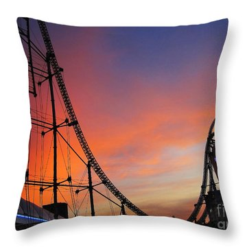 Sunset Over Roller Coaster Throw Pillow