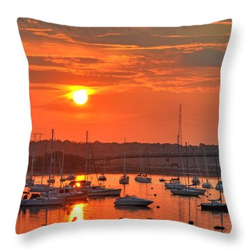 Sunset Over Salem Harbor Salem Beverly Bridge 2 Throw Pillow