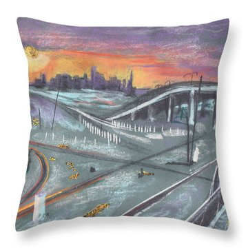 Sunset Over San Francisco And Oakland Train Tracks Throw Pillow by Asha Carolyn Young