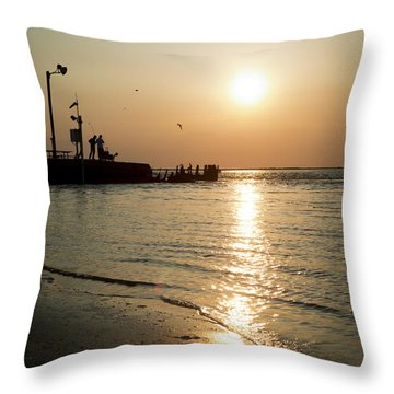 Throw Pillow featuring the photograph Sunset Over San Luis Pass by Ray Devlin