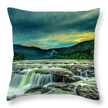 Sunset Over Sandstone Falls Throw Pillow
