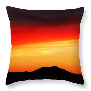 Sunset Over Santa Fe Mountains Throw Pillow