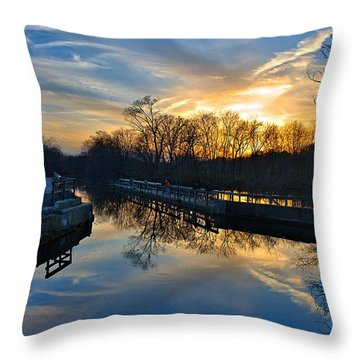 Sunset Over Scudders Mill Aqueduct Throw Pillow by Steven Richman