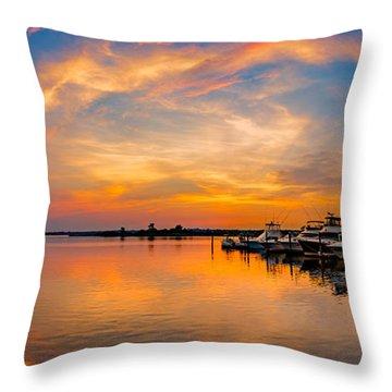 Sunset Over Shrewsbury Bay Throw Pillow