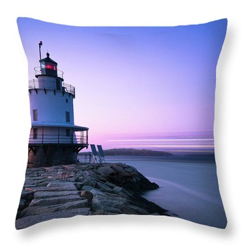 Sunset Over Spring Breakwater Lighthouse In South Maine Throw Pillow